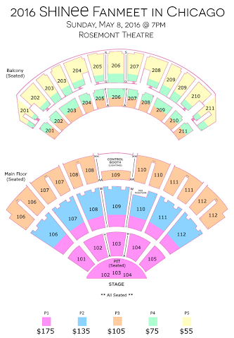 Seats Plan Shinee in Chicago