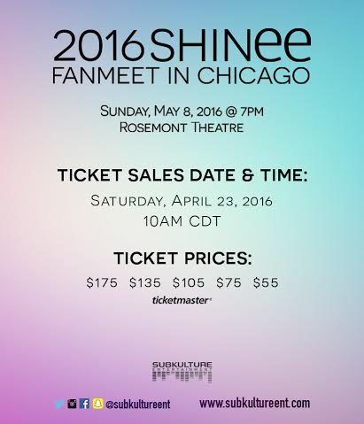 Tickets information shinee in Chicago